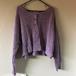 AE Purple  Cropped Henley Sweater
